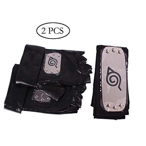 YGDZ Top Quality 1 Pack Naruto Leaf Village Ninja Headband with 1 Pair Naruto Gloves