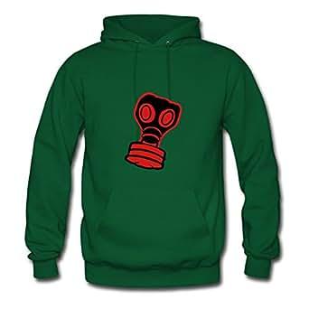 Women Sweatshirts Casual Gasmask Designed X-large With Organic Cotton Green