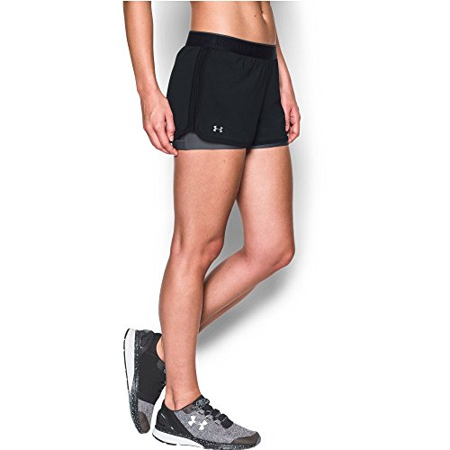 Under Armour Women's HeatGear Armour 2-In-1 Shorty, Black (001)/Metallic Silver, - Shortys Magic Black