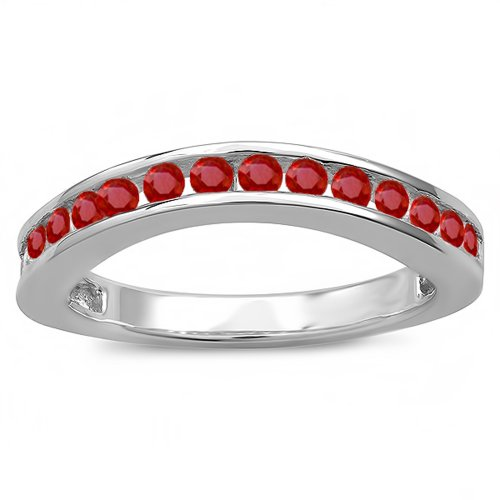 0.75 Carat (ctw) 18K White Gold Ruby Ladies Curved Guard Matching Bridal Wedding Band 3/4 CT (Size 9) - Ruby Bridal Ring Guard