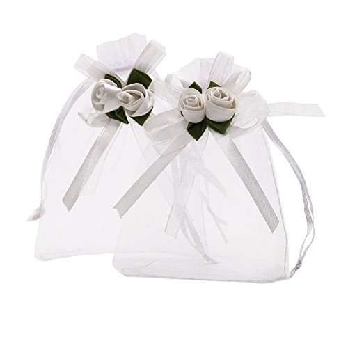 (SumDirect 4x4.7 Inches Sheer Organza Wedding Favor Gift Bags White Rose Drawstring Pouches, Pack of 50)