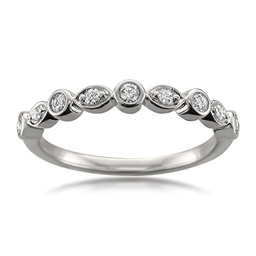14k White Gold Round Diamond Bridal Wedding Band Ring (1/10 Cttw, H-I, I1-I2)