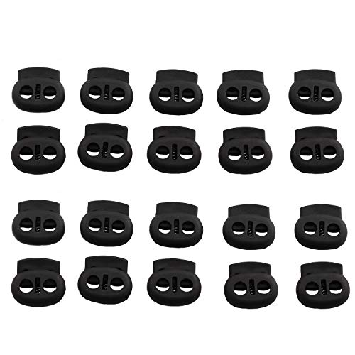 DGZZI 20pcs Black Dual Hole Cord Lock DIY Apparel Sewing Accessories Plastic Spring Loaded Fastener Bungee Rope Toggle Stopper Toggle Clip 17x16mm
