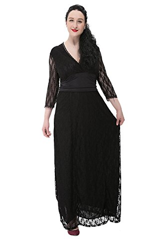 Preferhouse Mother of the Bride Dress Lace Long Formal Gown with Sleeve 3XL Black