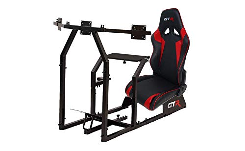 GTR Simulator GTAF-BLK-S105LBKRD - GTA-F Model (Black) Triple or Single Monitor Stand with Black/Red Adjustable Leatherette Seat, Racing Simulator Cockpit Gaming Chair Single Monitor Stand