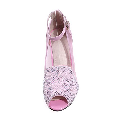 AllhqFashion Womens Peep Toe Kitten Heels Cow Leather Sandals with Mesh Legging Pink thTO9evx