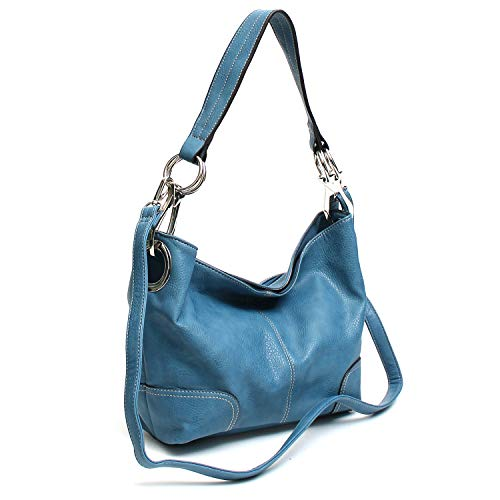 - Americana Bucket Style Hobo Shoulder Bag with Big Snap Hook Hardware