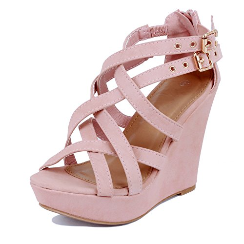 Guilty Shoes Womens Gladiator Buckles High Heel Platform Sandals Sandals, Blush PU, 8 (Heel Pink Wedge)