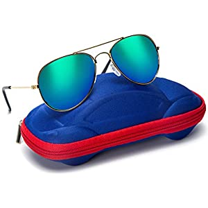 Kids Junior Aviator Classic Sunglasses Metal Frame Reflective Lenses By Comcl (Green Flash, 52)