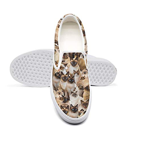 Fashion Canvas Slip-on Shoes for Women's Siamese cat Breed Print Dancing Loafers Sneakers