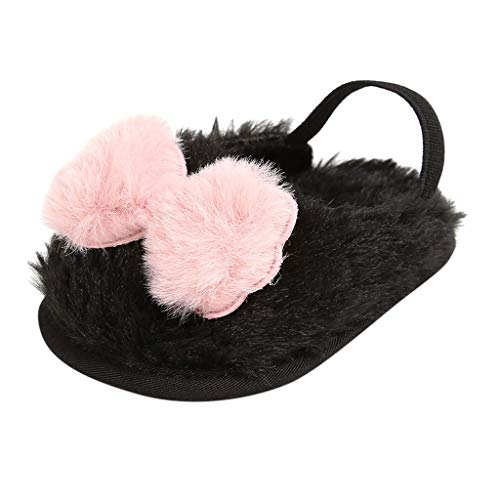 Hyioammb Toddler Kid Baby Girls Cute Slippers Flip Flop Flock Bowknot Winter Warm Casual Shoes