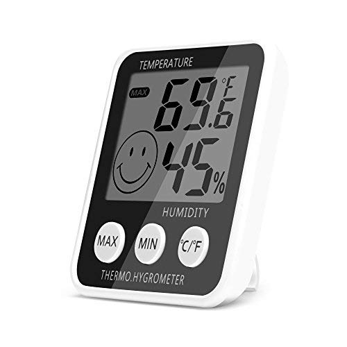 TiToeKi Digital Hygrometer Indoor Thermometer Humidity Monitor Gauge 2-in-1 Monitor, for Room Greenhouse Office Hotel