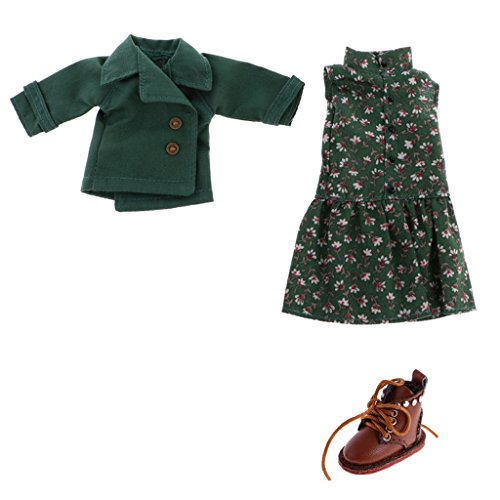 MagiDeal Trendy Doll Floral Sleeveless Dress & Coat + PU Leather Boots for 12inch Takara Blythe Doll Clothes Dress Up Accessories -