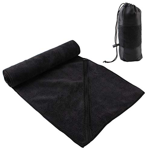 (MIABOO Microfiber Quick Dry Travel Towel (12x43inch,1Pack), Multi-Purpose Ultra Absorbent Sports Towel with Zipper Pocket Perfect for Workout Car Camping Gym Beach Yoga Golf,Carry Bag Included)