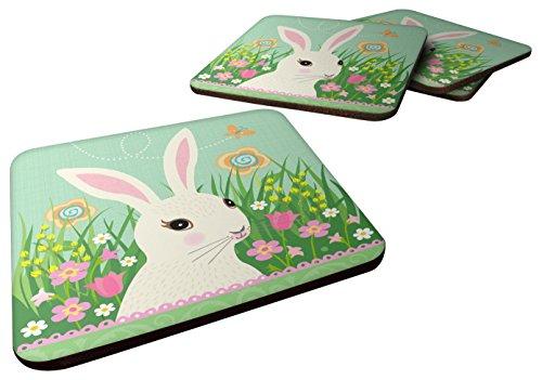 - Caroline's Treasures Easter Bunny Rabbit Foam Coaster Set of 4, 3.5, Multicolor