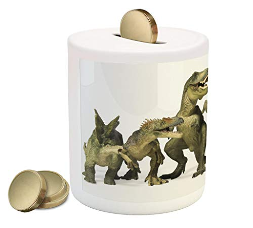 Lunarable Dinosaur Piggy Bank, Dinosaurs T-Rex Jurassic Theme 3D Style Dino Fossil Art Design History, Printed Ceramic Coin Bank Money Box for Cash Saving, Pearl Army Green Khaki