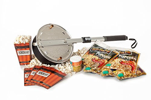 Whirley Pop Open Fire Popcorn Popper - Ultimate Indoor/Outdoor Popcorn Gift Set with Popping Kit and Delicious Seasoning Sampler - Great for Fire Pits and Indoor Fireplaces - Perfect For Any Occasion