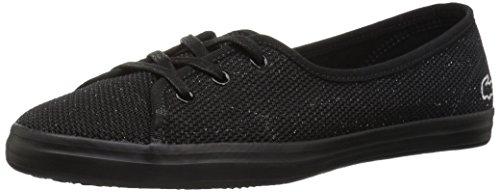Lacoste Women's Ziane Chunky Sneaker, Black Textile, 6 Medium US
