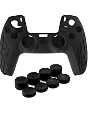 Silicone Controller Cover Dustproof Anti-Slip Game Protector Case Thumb-Stick Cap Grip Set for PS5 Gamepad Black,Game Handle