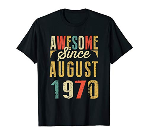 1970 Womens Retro T-shirt - Retro Vintage Awesome Since AUGUST 1970 Birthday T-Shirt