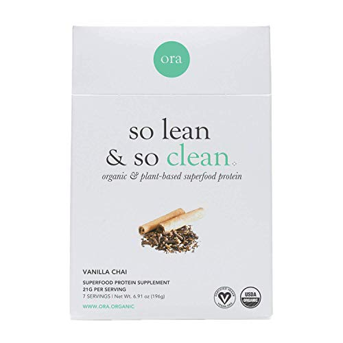 Ora Organic Plant-Based Protein Powder: So Lean and So Clean (7 Sachets) - Vanilla Chai Vegan Protein Sample Pack - 20+ Superfoods, Dairy-Free, Gluten-Free, Soy-Free, Paleo, Keto-Friendly