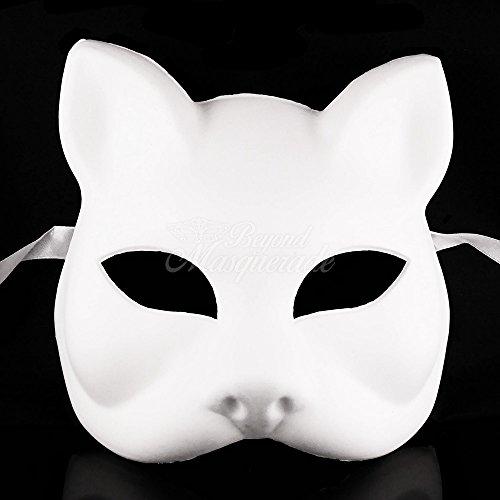 BeyondMasqeurade Unpainted Blank Gatto Cat Masquerade Mask - Blank Masquerade Mask