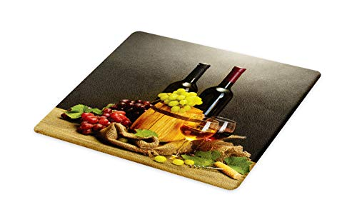 Ambesonne Winery Cutting Board, Cask Bottles and Glasses of Wine and Ripe Grapes on Wooden Table Picture Print, Decorative Tempered Glass Cutting and Serving Board, Large Size, Grey Taupe (Wine Decorative Grapes)