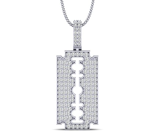 (Fehu Jewel 0.50cts Natural Diamond Gold Over Sterling Silver Razor Blade Pendant for Her (White-Gold-Plated-Silver))