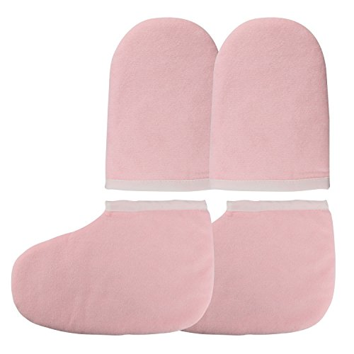 Paraffin Wax Bath Terry Cloth Gloves Booties, Wax Care Insulated Cotton Mittens, Heat Therapy Spa Treatment Tanning Mitt – Pink