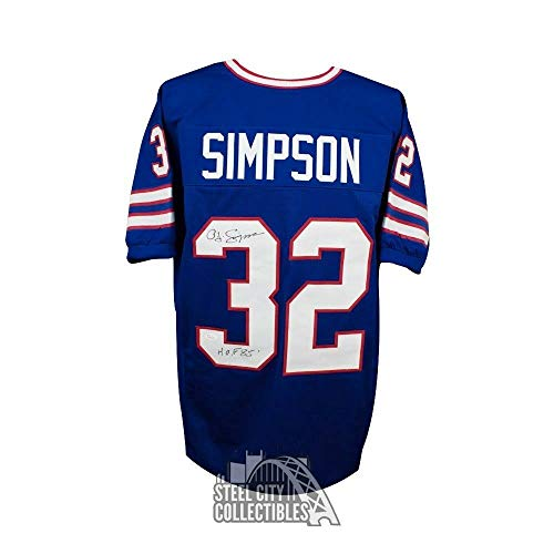 Oj Simpson HOF Autographed Signed Buffalo Bills Custom Blue Football Jersey Memorabilia - JSA Authentic