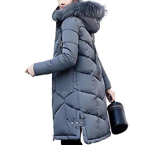 HANMAX Doudoune Femme Mi-Longue Hiver avec Capuche Fourrure Manteau de Coton Chaude Grande Taille Gris