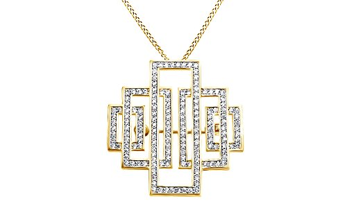 AFFY Gatsby Inspired Bridal Art Deco Brooch Pendant Necklace in 14K Yellow Gold Over Sterling Silver ()