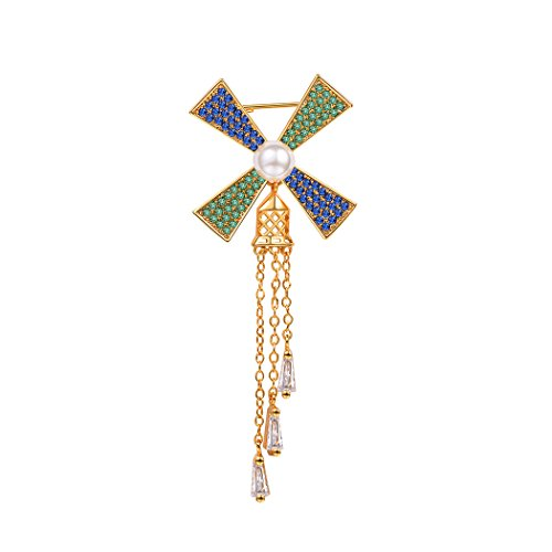Suplight Windmill Brooch Pearl Gold Plated with Crystal Dutch Pin Collectable Windmill Brooch Kit Green/Blue