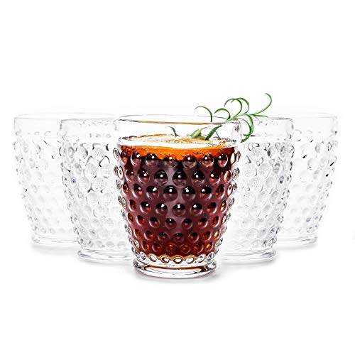 Clear Hobnail Glasses Tumbler – Old Fashioned Vintage Drinking Glasses Sets – for Refreshments, Soda & Juice, Perfect…