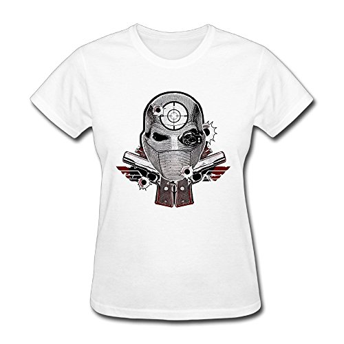 (SEagleo Women's Suicide Squad Character Deadshot Skull Tshirts White Small)