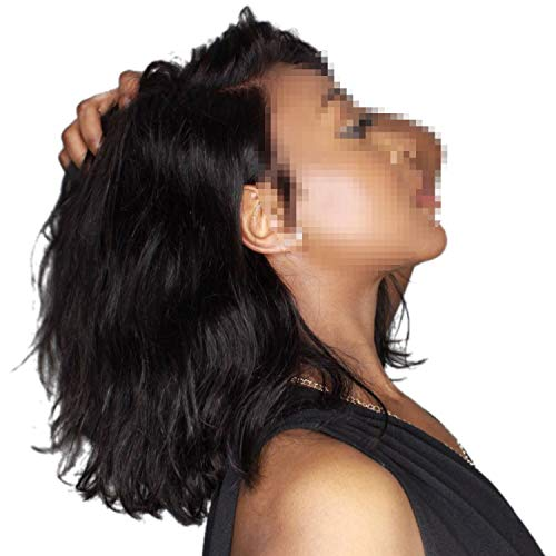 Short Bob Lace Front Wigs Human Hair Natural Wave Pre Plucked Bleached Knots For Women,Natural Color,8inches