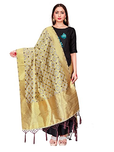 Silk Chiffon Dress Set (ELINA FASHION Women's Zari Work Indian Banarasi Art Silk Woven Only Dupatta For Dress Material & Salwar Suit (Off White 1))