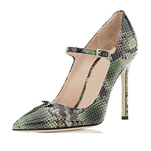 (Sammitop Women's Mary Jane Pumps Stiletto Heel Pumps Python Green Shoes Size US9)