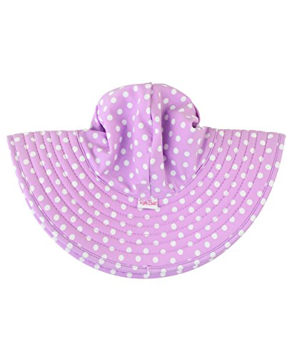 RuffleButts Baby/Toddler Girls Lilac Polka and Stripe Reversible Swim Hat - 6-10