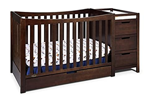 Graco Remi 4-in-1 Convertible Crib and Changer, Espresso - 3 Drawer Combo Changer