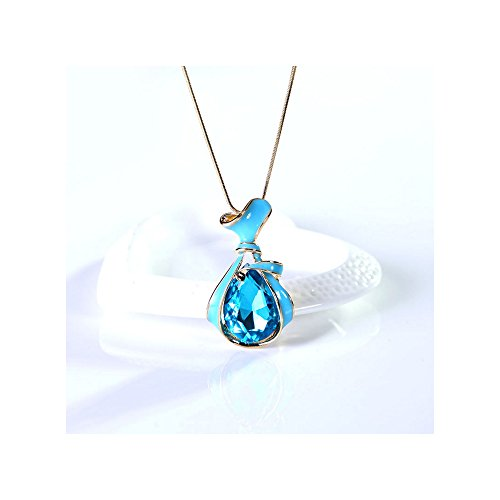The Starry Night Elegant Drop Crystal Cut Style Fashion Satchel Pendant Necklace (Women, (Morgan Vase)