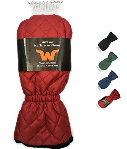 WildCow Burgundy Ice Scraper Mitt - Quilted Windshield Snow Scraping - Ice Burgundy