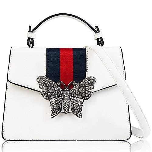 Beatfull Designer Shloulder Bag for Women, Fashion Top Handle Handbag Crossbody Bag with Diamond Butterfly (white) by Beatfull