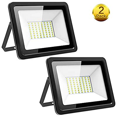 Morsen 2 Pack 60W LED Flood Light, Ultra Thin IP66 Waterproof 6000lm 6000K Daylight White, 300W Halogen Bulb Equivalent Indoor Outdoor Super Bright Security Lights Floodlight Landscape Wall Lights