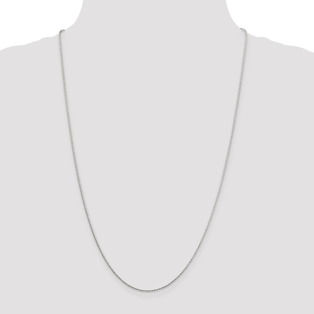 925 Sterling Silver Sparkle-Cut Round Spiga Chain Necklace in Silver Choice of Lengths 16 18 20 24 and Variety of mm Options