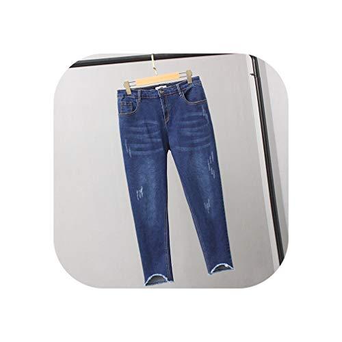 (High Waist Jeans Stretch Hole Ripped Jeans Denim Pants Pencil Jeans C4303,Dark Blue Style 2,XL)