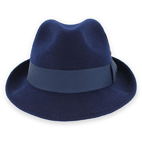 (Belfry Trilby Men/Women Snap Brim Vintage Style Dress Fedora Hat 100% Pure Wool Felt Available in Black, Grey, Pecan (Small, Navy))