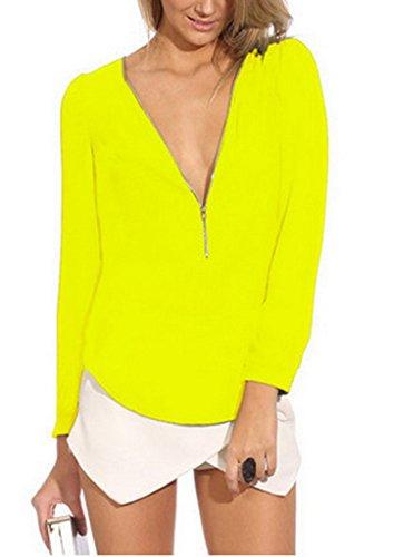 Ru V Manches Longues Shirt Chemise T Vogue Uni Jaune Xiang Zipp Blouse Col Couleur 4Iwn7Uqd4