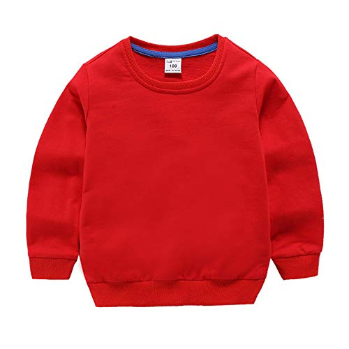 (Toddler Boys Girls Sweatshirt Hoodie Top Solid Color Unisex (5T, Red))