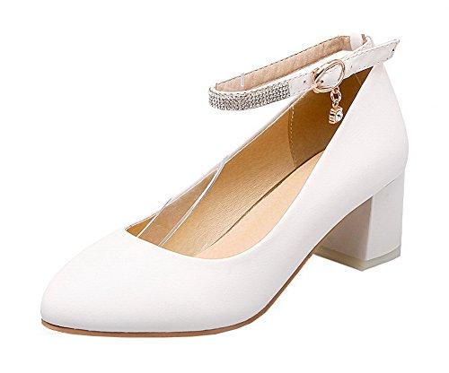 Allhqfashion Womens Tacco Chiuso Fibbia Pu Solido Tacco-tacchi Pompe-scarpe Bianche